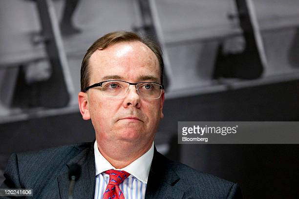 Stuart Gulliver group chief executive officer of HSBC Holdings Plc pauses during a news conference in Hong Kong China on Tuesday Aug 2 2011 HSBC...