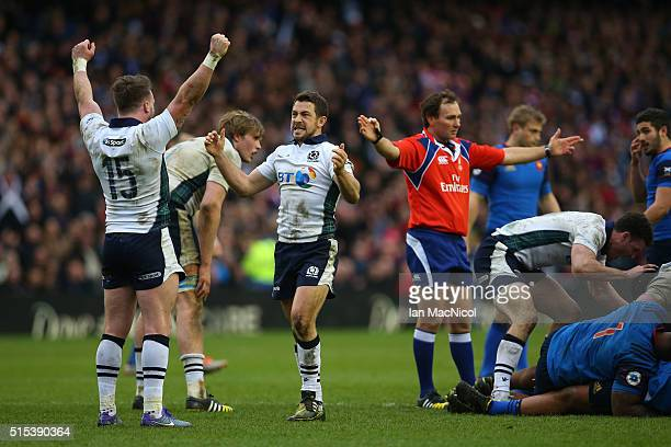 Stuart Hogg and Greig Laidlaw of Scotland celebrates victory as the final whistle blows during the RBS Six Nations match between Scotland and France...