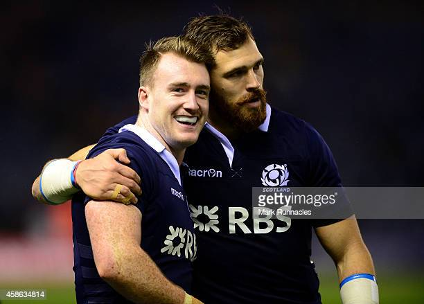 Stuart Hogg , and Sean Lamont of Scotland acknowledges the warm applause from the crowd at the end of the International match between Scotland and...