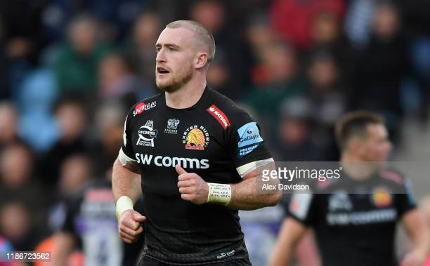 Stuart Hogg of Exeter Chiefs looks on during the Gallagher Premiership Rugby match between Exeter Chiefs and Bristol Bears at Sandy Park on November...
