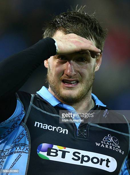 Stuart Hogg of Glasgow Warriors looks on at the end of the European Rugby Champions Cup pool 3 match between Glasgow Warriors and Racing 92 at Rugby...