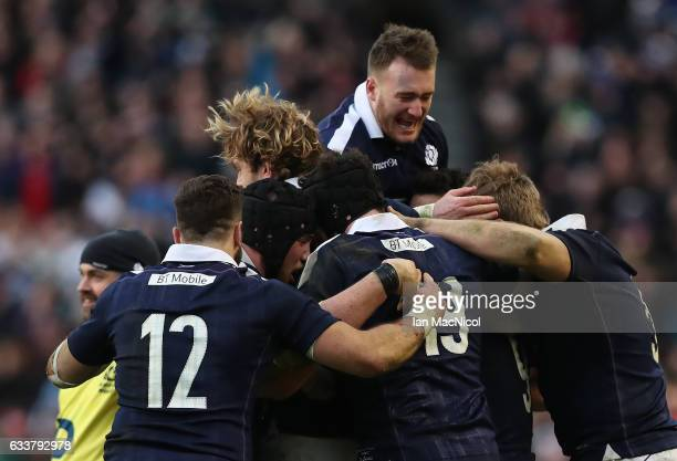 Stuart Hogg of Scotland celebrates at full time during the RBS 6 Nations match between Scotland and Ireland at Murrayfield Stadium on February 4 2017...