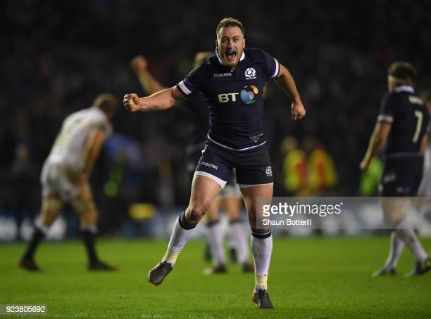 Stuart Hogg of Scotland celebrates victory in the NatWest Six Nations match between Scotland and England at Murrayfield on February 24 2018 in...