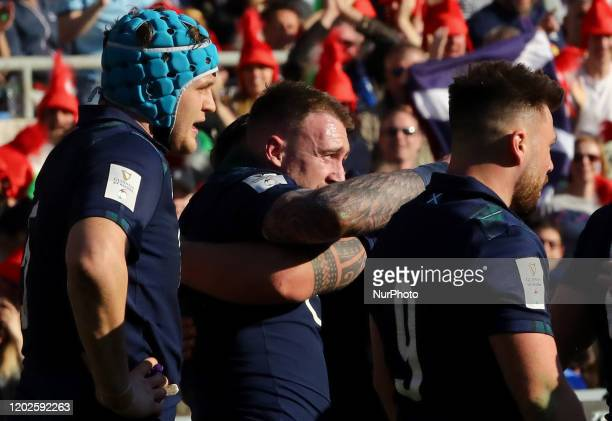 Stuart Hogg of Scotland celebrates with the teammates after scoring a try during the rugby Guinness 6 Nations match Italy v Scotland at the Olimpico...
