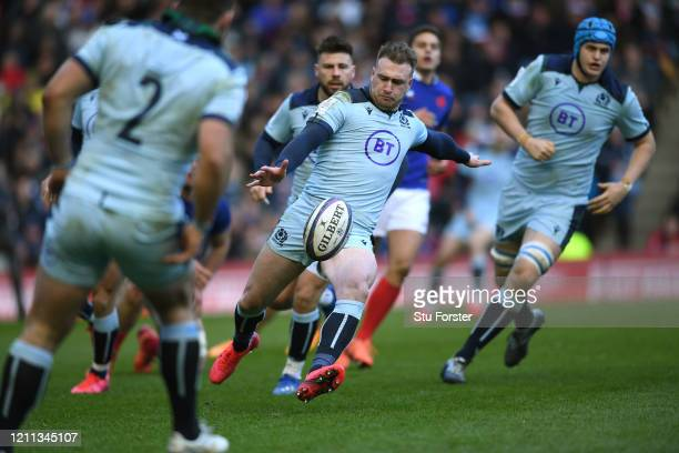 Stuart Hogg of Scotland kicks to touch during the 2020 Guinness Six Nations match between Scotland and France at Murrayfield on March 08 2020 in...