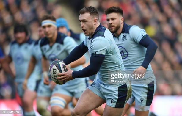 Stuart Hogg of Scotland runs with the ball during the 2020 Guinness Six Nations match between Scotland and France at Murrayfield on March 08 2020 in...