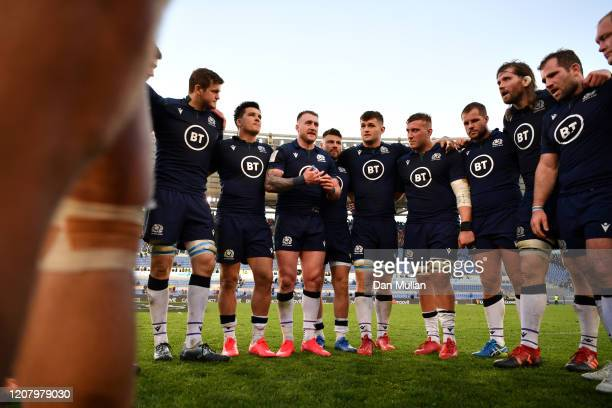 Stuart Hogg of Scotland talks to his team after the 2020 Guinness Six Nations match between Italy and Scotland at Stadio Olimpico on February 22 2020...