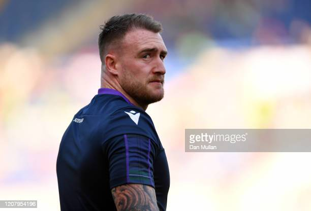 Stuart Hogg of Scotland warms up prior to the 2020 Guinness Six Nations match between Italy and Scotland at Stadio Olimpico on February 22 2020 in...