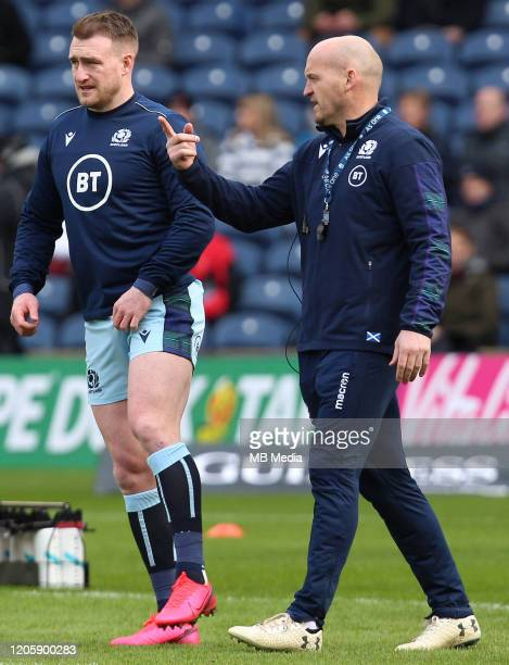 Stuart Hogg the Scotland Captain and Gregor Townsend the Scotland Head Coach during the 2020 Guinness Six Nations match between Scotland and France...