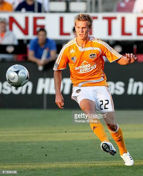Stuart Holden of the Houston Dynamo passes against the New York Red Bulls on May 31, 2008 at Robertson Stadium in Houston, Texas.