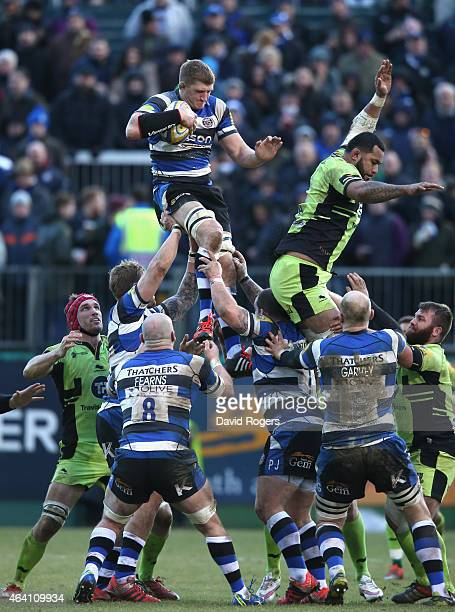Stuart Hooper of Bath catches the ball during the Aviva Premiership match between Bath and Northampton Saints at the Recreation Ground on February 21...