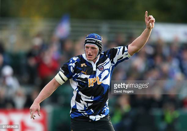 Stuart Hooper of Bath looks on during the Heineken Cup match between Bath and Stade Francais at the Recreation Ground on October 18 2009 in Bath...