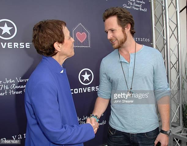 Stuart House director Gail Abarbanel and actor AJ Buckley arrive at the 7th annual Stuart House Benefit held by John Varvatos and Converse at John...