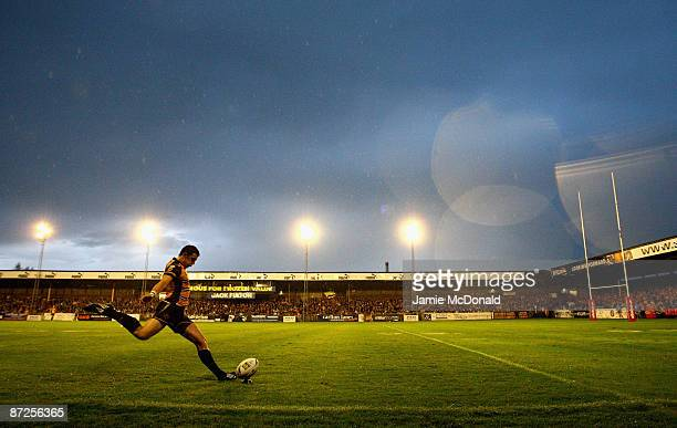 Stuart Jones kicks a conversion for Castleford Tigers during the Engage Super League match between Castleford Tigers and the Leeds Rhinos at the...