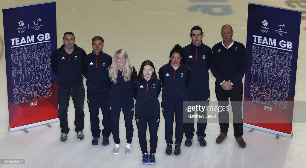 Stuart Laing, GB Short Track Performance Director, Josh Cheetham, Elise Christie, Charlotte Gilmartin, Kathryn Thomson and Farrell Treacy of Great Britain and Mike Hay, Team GB Chef de Mission for the 2018 PyeongChang Olympic Winter Games pictured during a media day for the Athletes Named in the GB Short Track Speed Skating Team for the PyeongChang 2018 Winter Olympic Games on December 12, 2017 in Nottingham, England.