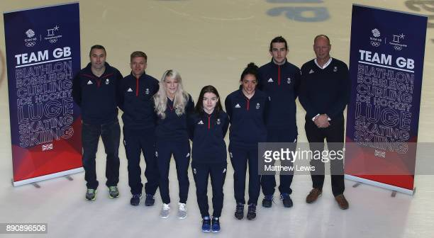 Stuart Laing GB Short Track Performance Director Josh Cheetham Elise Christie Charlotte Gilmartin Kathryn Thomson and Farrell Treacy of Great Britain...