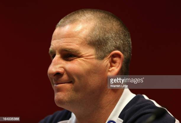 Stuart Lancaster England Head Coach addresses a press conference at Twickenham Stadium on March 19 2013 in London England
