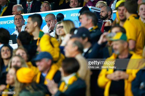Stuart Lancaster Head Coach of England and Graham Rowntree Forwards Coach look dejected during the 2015 Rugby World Cup Pool A match between England...