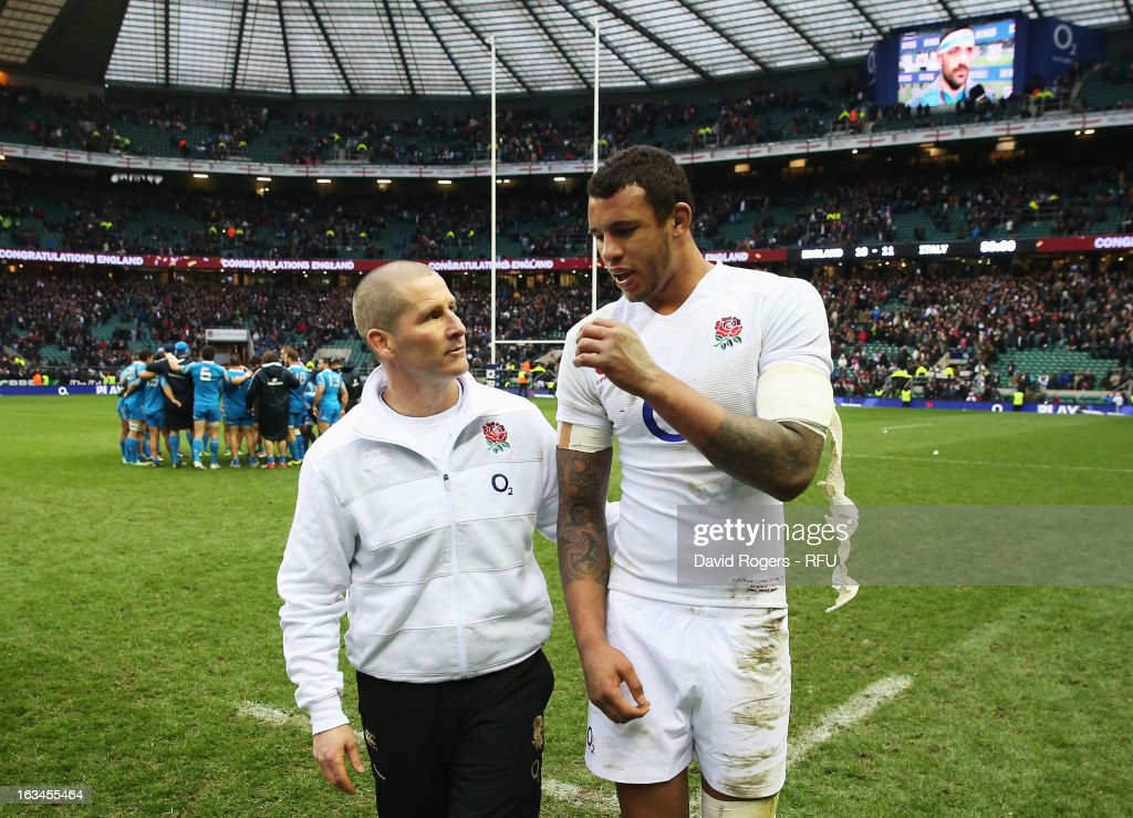 Stuart Lancaster head coach of England congratulates Courtney Lawes of England at the end of the match during the RBS Six Nations match England and Italy at Twickenham Stadium on March 10, 2013 in London, England.