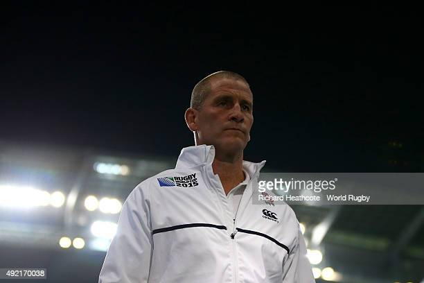 Stuart Lancaster Head Coach of England looks on prior to the 2015 Rugby World Cup Pool A match between England and Uruguay at Manchester City Stadium...