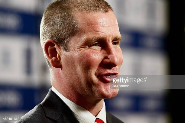 Stuart Lancaster the coach of England speaks to the media during the launch of the 2015 RBS Six Nations at the Hurlingham club on January 28 2015 in...