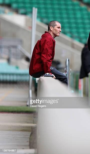 Stuart Lancaster the England head coach looks on during the England captain's run at Twickenham on February 24 2012 in London England