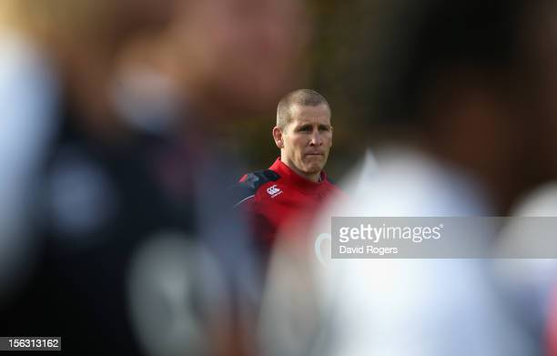 Stuart Lancaster the England head coach looks on during the England training session held at Pennyhill Park on November 13 2012 in Bagshot England