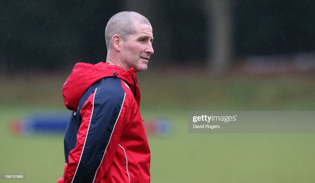 Stuart Lancaster, the England head coach, looks on during the England training session held at Pennyhill Park on November 20, 2012 in Bagshot, England.