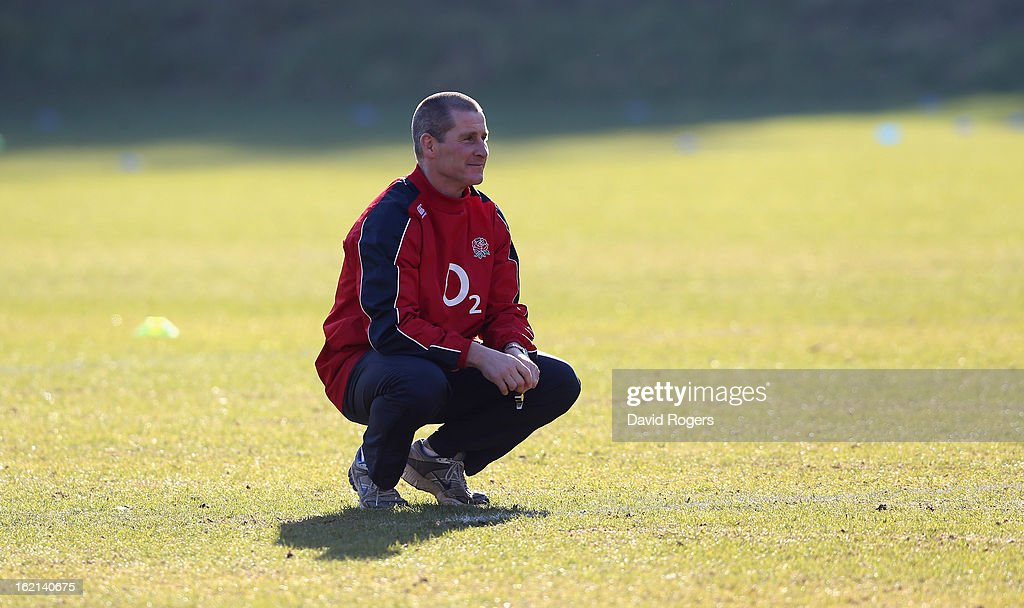 Stuart Lancaster, the England head coach looks on during the England training session held at Pennyhill Park on February 19, 2013 in Bagshot, England.