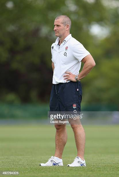 Stuart Lancaster the England head coach looks on during the England training session held at the Lensbury Club on May 19 2014 in Teddington England