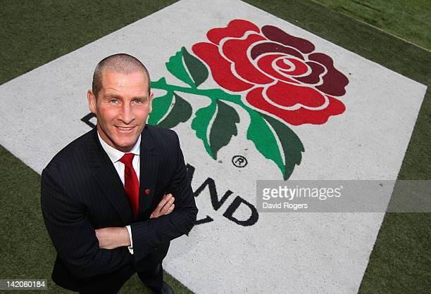 Stuart Lancaster the England head coach poses at Twickenham Stadium on March 29 2012 in London England