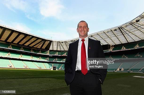 Stuart Lancaster the England head coach poses at Twickenham Stadium on March 29 2012 in London England