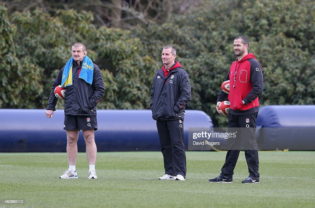 Stuart Lancaster (C) the England head coach talks his assistant coaches Graham Rowntree (L) and Andy Farrell during the England training session held at Pennyhill Park on February 2, 2015 in Bagshot, England.