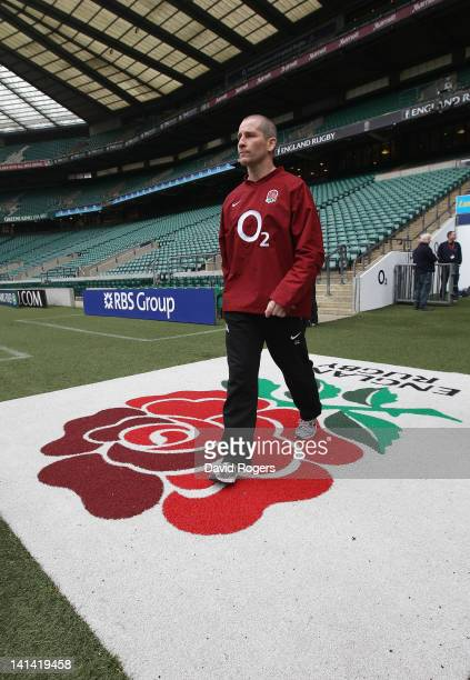 Stuart Lancaster the England head coach walks onto the pitch during the England captain's run at Twickenham on March 16 2012 in London England