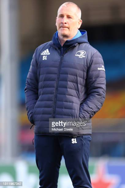 Stuart Lancaster the Senior Coach of Leinster looks on during the warm up ahead of the Heineken Champions Cup Quarter Final match between Exeter...