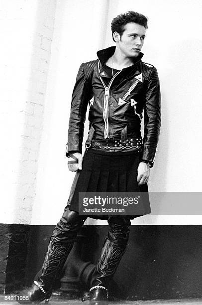 Stuart Leslie Goddard aka Adam Ant and lead singer of the band Adam and the Ants stands on a London street 1980
