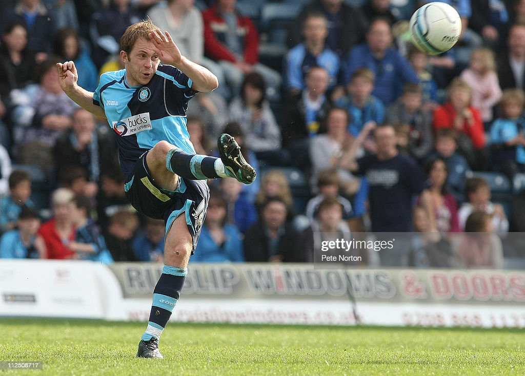 Stuart Lewis of Wycombe Wanderers in action during the npower League Two League match between Wycombe Wanderers and Northampton Town at Adams Parks on April 16, 2011 in Wycombe, England.