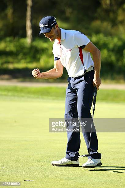 Stuart Manley of Wales celebrates as he holes his final putt to secure a tour card during the final round of the European Tour Qualifying School...