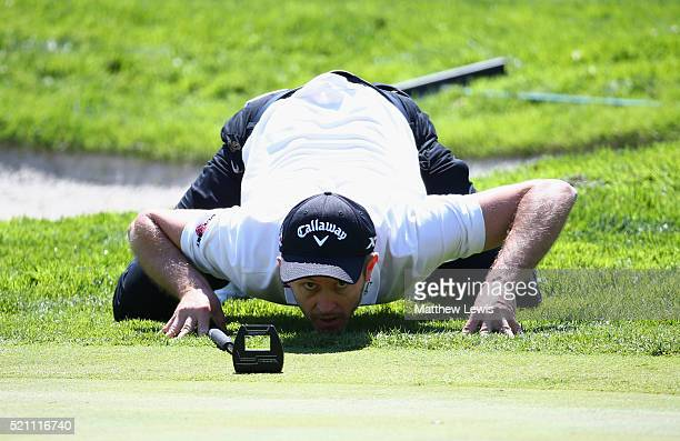 Stuart Manley of Wales lines up a putt on the 9th green during day one of the Open de Espana at Real Club Valderrama on April 14 2016 in Sotogrande...