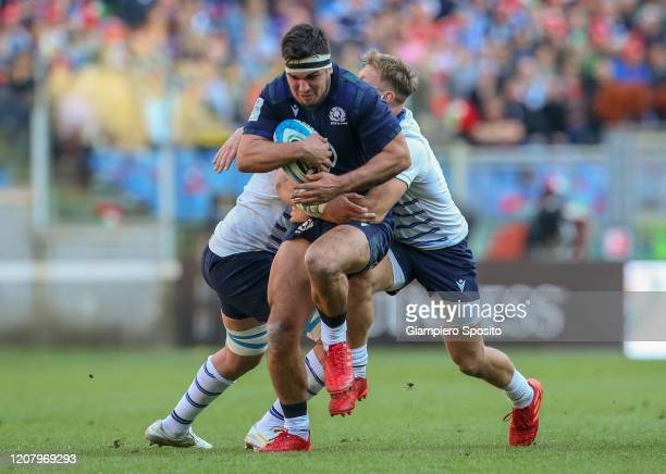 Stuart Mcinally of Scotland in action during the 2020 Guinness Six Nations match between Italy and Scotland at Stadio Olimpico on February 22 2020 in...