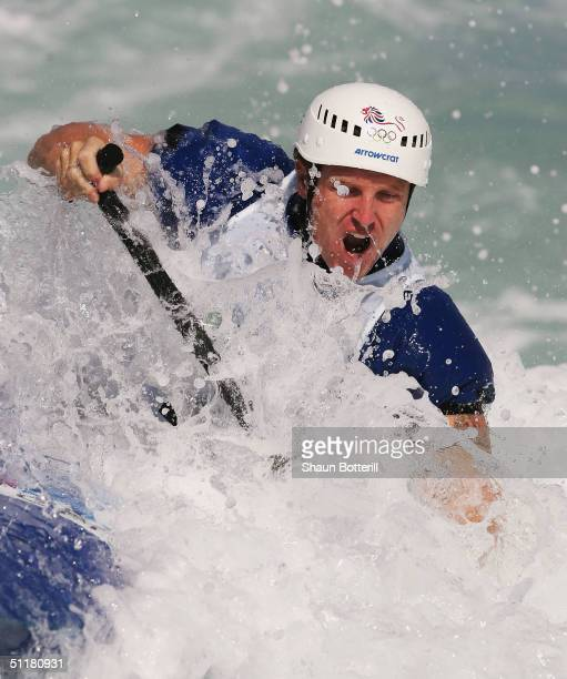 Stuart McIntosh of Great Britain competes during the men's C1 class slalom heat on August 17 2004 during the Athens 2004 Summer Olympic Games at the...