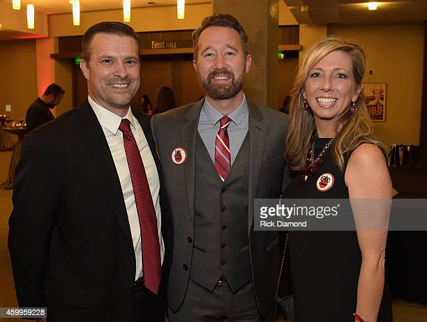 Stuart McWhorter Jake Smith and Kerri O'Brien attend BloodWater's 3rd Annual Red Tie Gala at the Country Music Hall of Fame and Museum on December 4...