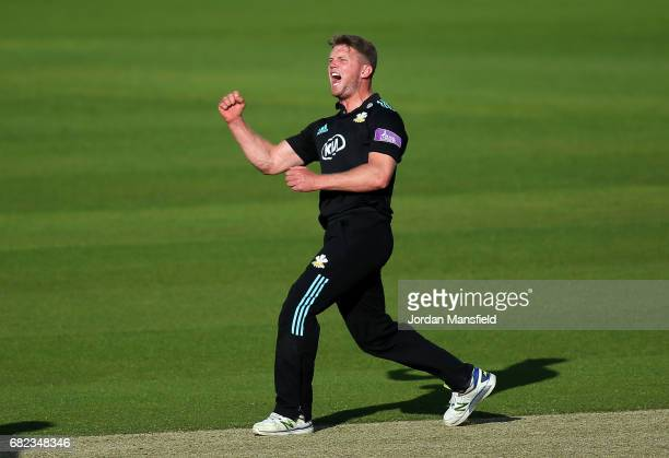 Stuart Meaker of Surrey celebrates dismissing Matt Coles of Kent during the Royal London One-Day Cup match between Surrey and Kent at The Kia Oval on...