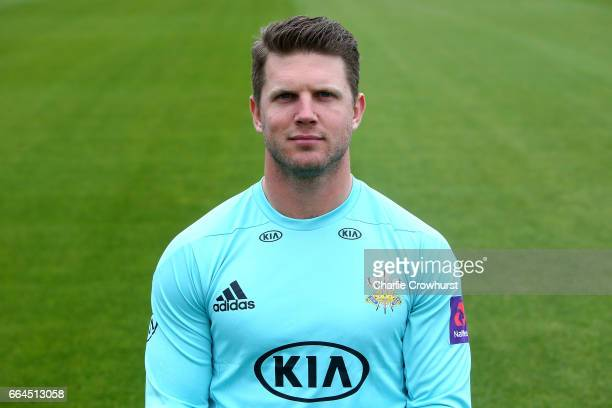Stuart Meaker poses in the NatWest T20 Blast kit during the Surrey CCC Photocall at The Kia Oval on April 4 2017 in London England