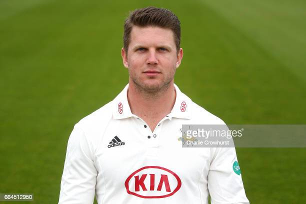 Stuart Meaker poses in the Specsavers County Championship kit during the Surrey CCC Photocall at The Kia Oval on April 4 2017 in London England