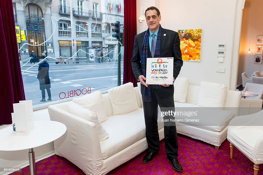 Stuart Milk, president of Harvey Milk Foundation, attends a press conference at Hotel de la Letras on January 16, 2017 in Madrid, Spain. During the event the collaboration agreement between the Harvey Milk Foundation and the Organizing Committee of the WorldPride Madrid 2017 was presented for the organization of the World Conference on Human Rights, which takes place at the Autonomous University of Madrid from 26 to 28 June.