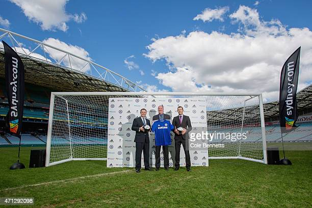 Stuart MP Chelsea's Asia Managing Director Adrian New and retired Socceroo Brett Emerton pose for a photo during a Sydney FC media opportunity at ANZ...