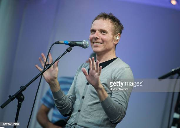 Stuart Murdoch of Belle and Sebastian performs on stage as part of the Glasgow 2014 Commonwealth Games celebrations at Kelvingrove Bandstand on July...