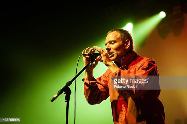 Stuart Murdoch of Belle and Sebastian performs on stage at Alhambra Theatre on November 1, 2015 in Dunfermline, Scotland.