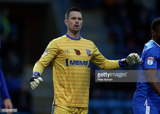 Stuart Nelson of Gillingham in action during the Sky Bet League One match between Gillingham and Northampton Town at Priestfield Stadium on November...